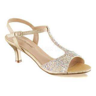 Women's Fabulicious Audrey 05 T-Strap Sandal Nude Shimmering Fabric (More options available)