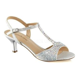 Women's Fabulicious Audrey 05 T-Strap Sandal Silver Shimmering Fabric (More options available)