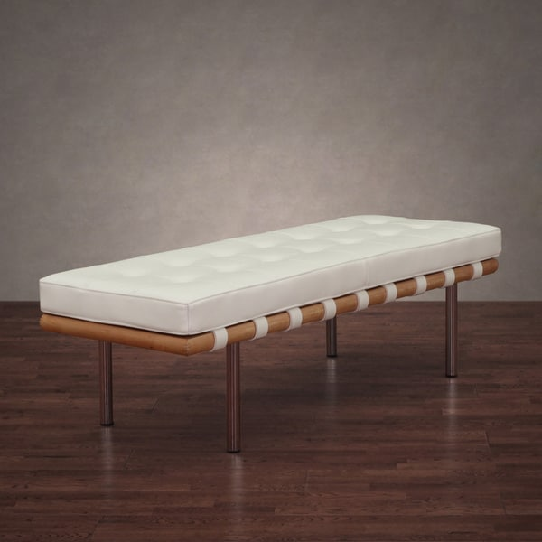Shop Andalucia 50 Inch Modern White Leather Bench As Is