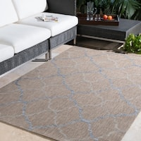 "Hillary Blue & Taupe Trellis Outdoor Area Rug - 5'3"" x 7'7"""