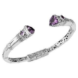 Sterling Silver Trillion Cut Amethyst Cawi Cuff Bracelet (Indonesia)