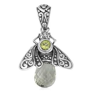 Handmade Sterling Silver Prasiolite Peridot 'Queen Bee' Cawi Pendant (Indonesia)