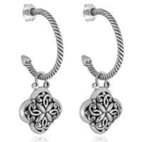 Handmade Sterling Silver Half Hoop Dangle Bali Earrings (Indonesia)