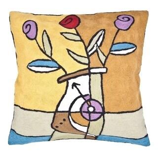 Handmade Tulip Chain-Stitch Throw Pillow (India)