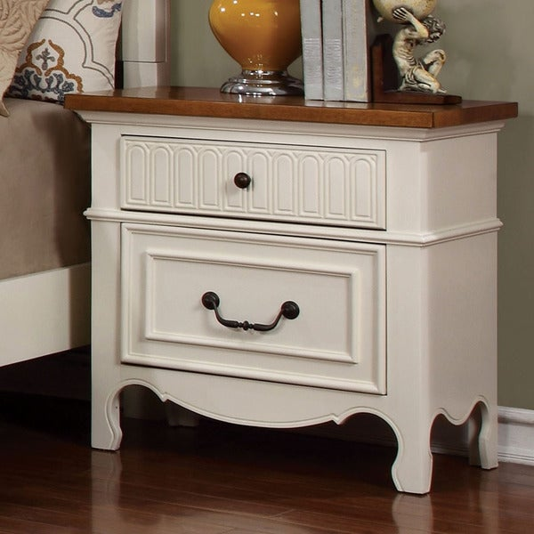 Furniture Of America Ophelie Cottage Style White 2 Drawer Nightstand