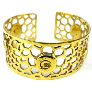 Handcrafted Brass Bomb Casing Beehive Bullet Cuff (Cambodia)