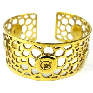 Handmade Brass Bomb Casing Beehive Bullet Cuff (Cambodia) - Gold