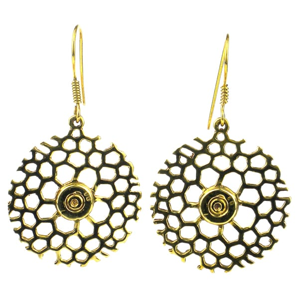 Handmade Brass Bomb Casing Beehive Bullet Earrings (Cambodia) - Gold/ Yellow