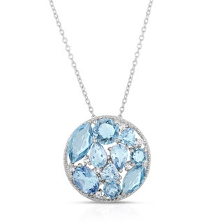 Dolce Giavonna Sterling Silver Blue Topaz and White Topaz Cluster Necklace