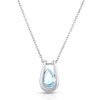 Dolce Giavonna Sterling Silver Blue Topaz Teardrop Necklace