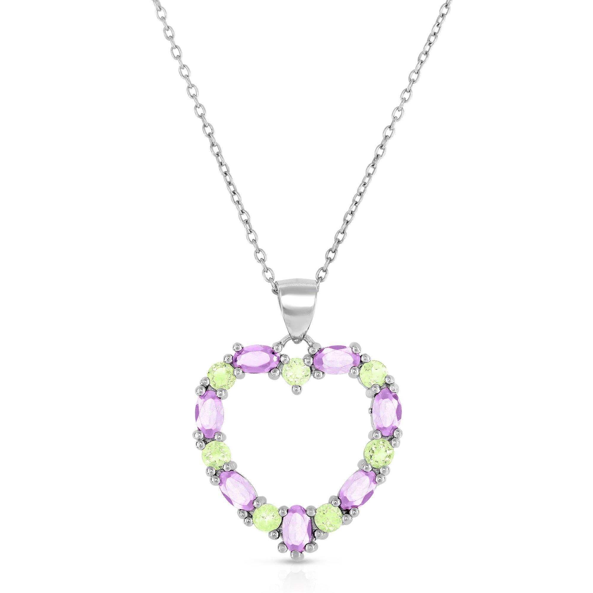 "Sterling Silver Amethyst Peridot /& CZ heart Pendant Necklace 18/"" Chain"