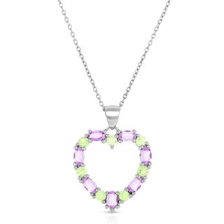 Dolce Giavonna Sterling Silver Amethyst and Peridot Heart Necklace