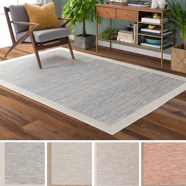 Cammie Solid Bordered Outdoor Area Rug - 2' x 3'7""