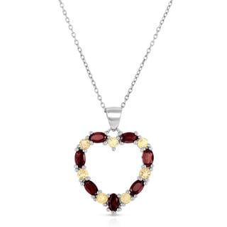 Dolce Giavonna Sterling Silver Garnet and Citrine Heart Necklace