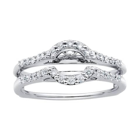 Boston Bay Diamonds 14k White Gold 1/3ct TDW Diamond Bridal Wrap