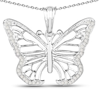 Olivia Leone Sterling Silver 1/3ct TDW Diamond Butterfly Pendant (I-J, I2-I3)