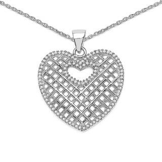 Olivia Leone Sterling Silver 1/2ct TDW Black Diamond Circle Medallion Pendant (I-J, I2-I3)
