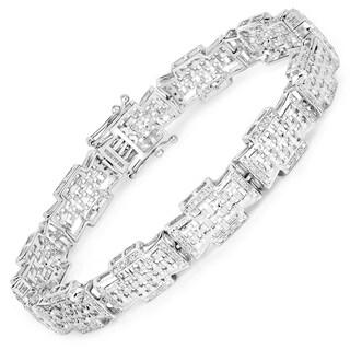 Olivia Leone Sterling Silver 1/2ct TDW Diamond Link Bracelet