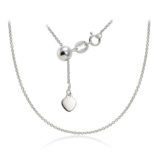 Mondevio Silver 1.5 mm Rolo Adjustable Slider Chain Necklace