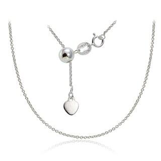 Mondevio Silver 1.5 mm Rolo Adjustable Slider Chain Necklace