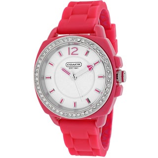 Coach Women's 14501561 Boyfriend Round Hot Pink Silicone Strap Watch