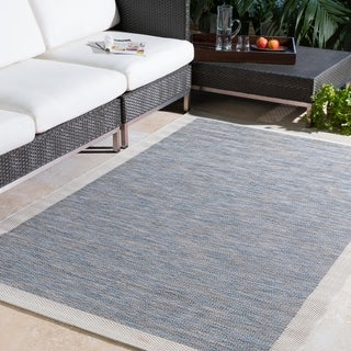 Cammie Solid Bordered Outdoor Area Rug (7'11 x 10'10) - 7'11 x 10'10