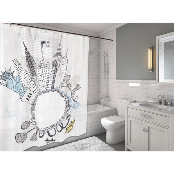 Carnation Home Fashions 'Funky City' Fabric Shower Curtain