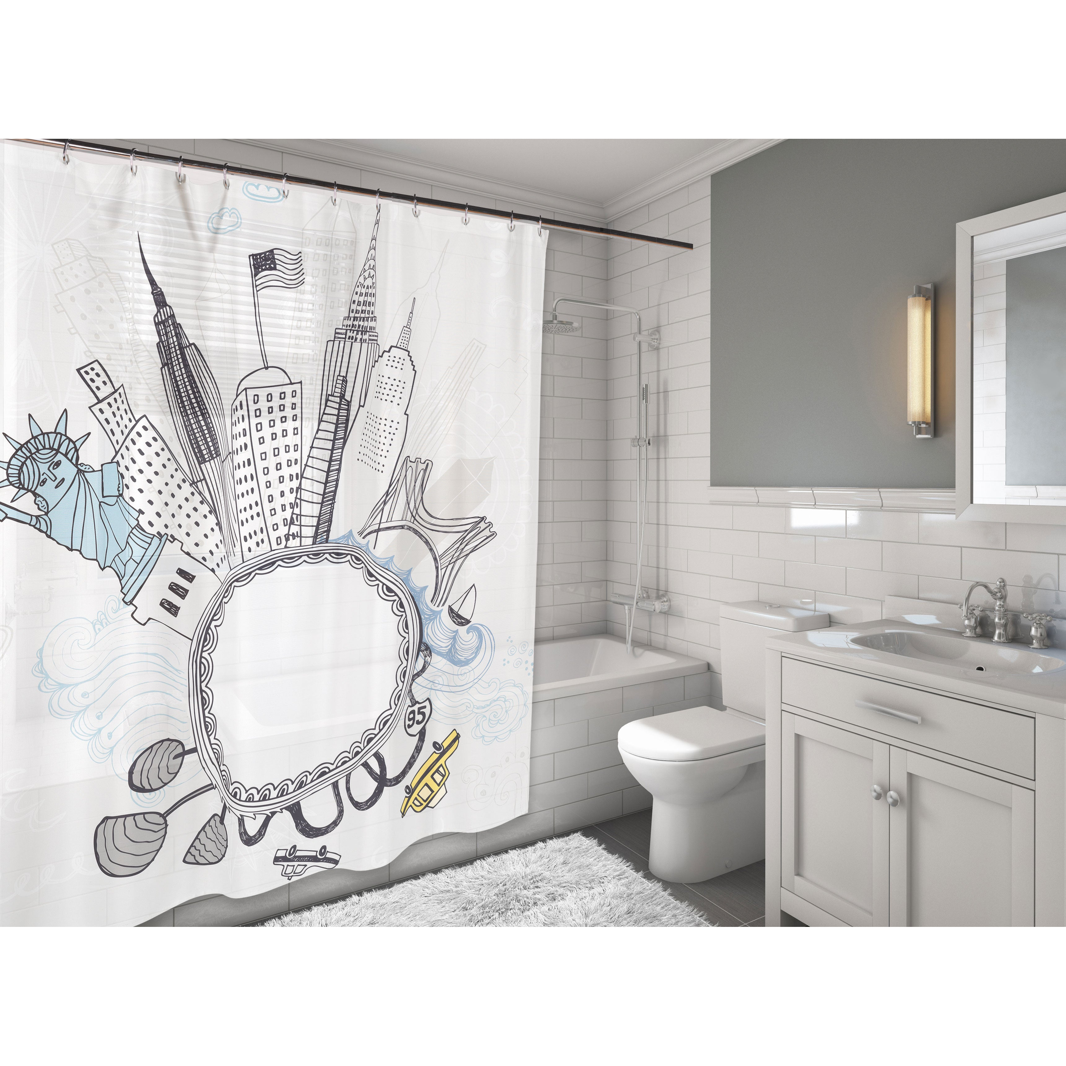 Carnation Home Fashions 'Funky City' Fabric Shower Curtai...