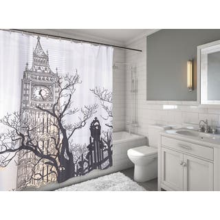 Carnation Home Fashions 'Big Ben' Fabric Shower Curtain|https://ak1.ostkcdn.com/images/products/11137274/P18136901.jpg?impolicy=medium