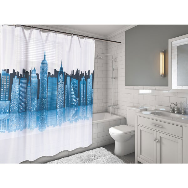 Carnation Home Fashions 'Cityscape' Fabric Shower Curtain - Free ...