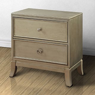 Furniture of America Estevia Contemporary Silver Grey 2-drawer Nightstand
