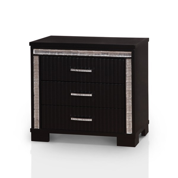 shop furniture of america gailen contemporary black 3 drawer nightstand on sale free. Black Bedroom Furniture Sets. Home Design Ideas