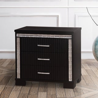 Furniture of America Vost Contemporary Black Solid Wood Nightstand