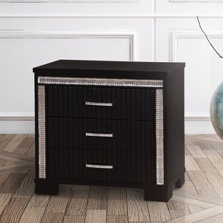 Furniture of America Gailen Contemporary Black 3-drawer Nightstand