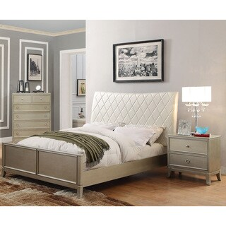 Furniture of America Estevia Contemporary 2-piece Silver Grey Bed and Nightstand Set