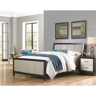 Fashion Bed Group B7145 Monterey Espresso Finish Complete Bed with Wood Panels and Mouse Upholstery