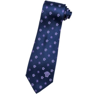 Versace 100-percent Italian Silk Purple Flower Neck Tie