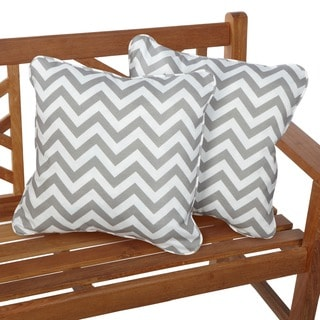 Chevron Grey Corded Indoor/ Outdoor Square Pillows (Set of 2)
