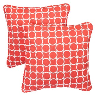 Linked Coral Corded Indoor/ Outdoor Square Pillows (Set of 2)