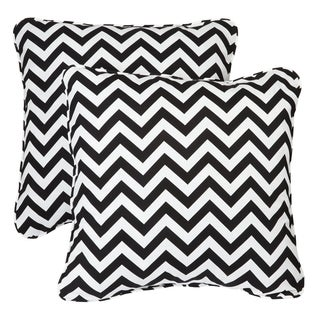 Chevron Black Corded Indoor/ Outdoor Square Pillows (Set of 2)