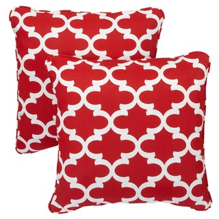 Scalloped Red Corded Indoor/ Outdoor Square Pillows (Set of 2)