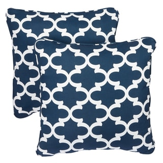 Scalloped Navy Corded Indoor/ Outdoor Square Pillows (Set of 2)