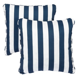 Gracewood Hollow Kadare Striped Navy Corded Indoor/ Outdoor Square Pillows (Set of 2)