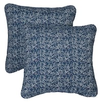Herringbone Navy Corded Indoor/ Outdoor Square Pillows (Set of 2)