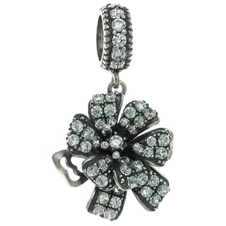 Queenberry Sterling Silver Mother's Flower Corsage Clear CZ Crystal Dangle European Bead Charm