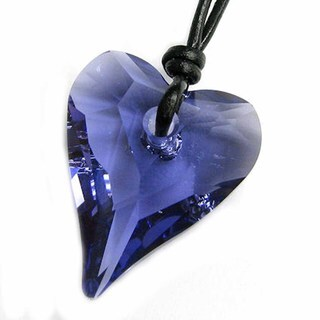 Queenberry Crystal Tanzanite Wild Heart Love Charm Pendant Black Leather Choker Necklace