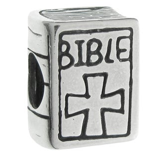 Queenberry Sterling Silver Christian Bible Book Cross European Bead Charm
