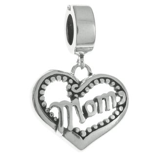 Queenberry Sterling Silver Mother's Day Love Heart Mom Dangle European Bead Charm