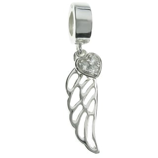 Queenberry Sterling Silver Angel Wing Heart Clear CZ Dangle European Bead Charm