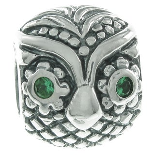 Queenberry Sterling Silver Owl Bird Green CZ European Bead Charm